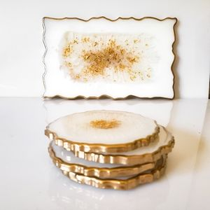 Resin Tray with or w/o 4 Coasters, Decorative Tray